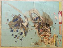 "Peter Sengl,  ""o.T."", Mischtechnik auf blauen Karton, 40x60cm"