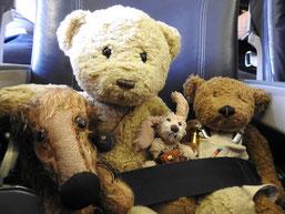 Kasimir, Cäsar, Fredi und Kerl auf ihrem Rückflug von Riga nach Frankfurt