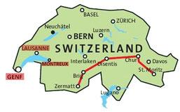 Kasimirs, Cäsars, Fredis und Kerls Reiseroute in der Schweiz