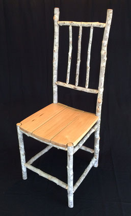 Soap tree chair, soap tree boards seat, natural wax finish, 110cm high x 43cm wide x 48cm deep. SOLD
