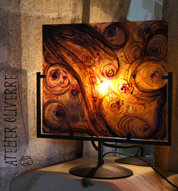 lampe vitrail, stained glass lamp, lampe design, lampe artisanale