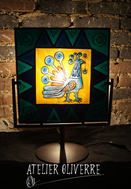 lampe vitrail, stained glass lamp, lampe design, lampe artisanale, lampe coq