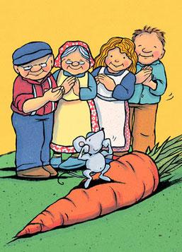 """Pasakojimas pagal paveikslėlių seriją """"Didelė morka"""""""