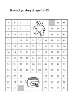 Skaičių labirintai. (Mokykis skaičiuoti po 2,3,4 pirmyn iki nurodyto skaičiaus)