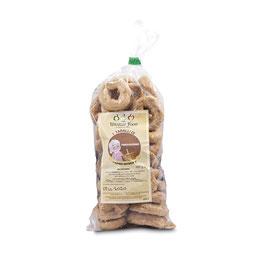 Tarallini tradicionales; Tarallini con hinojo; Tarallini con papas y romero; Taralli con cacio y pimienta (5.50€ und) SIN conservantes y aditivos quimicos