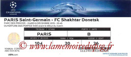Ticket  PSG-Shakhtar Donesk  2015-16
