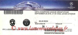 Ticket  Ludogorets-PSG  2016-17