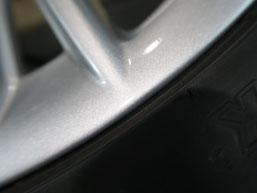 ポルシェ・ボクスターの純正アルミホイールのガリキズ・擦り傷のリペア(修理・修復)後の傷3のアップ写真