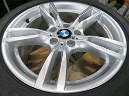 BMW 420i グランクーペ Mスポーツ の純正アルミホイール(ハイパーシルバー)のガリ傷・擦りキズのリペア(修理・修復)後のホイール全景写真