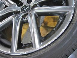 レクサスIS300h・Fスポーツの純正アルミホイール のガリキズ・擦り傷・欠けのリペア(修理・修復・再生)前の傷アップ写真1