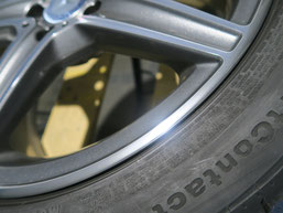 メルセデス・ベンツC220dの純正AMGアルミホイールのガリ傷・擦りキズ のリペア(修理・修復)後の傷があった部分のアップ写真