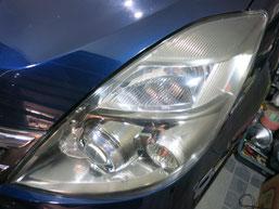 トヨタ・アイシスのヘッドライトの曇り・黄ばみ・劣化の除去(修理・修復)、左側修理後1