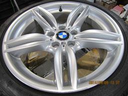 BMW523iワゴン純正アルミホイール(ハイパーシルバー19インチオプションホイール)、ガリ傷・擦りキズのリペア(修理・修復)前の写真