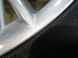 ポルシェ・ボクスターの純正アルミホイールのガリキズ・擦り傷のリペア(修理・修復)後の傷4のアップ写真