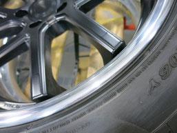 シボレー カマロLT RSのアルミホイールのガリ傷・擦りキズのリペア(修理・修復)後の傷があった部分のアップ写真