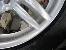 BMW523iワゴン純正アルミホイール(ハイパーシルバー19インチオプションホイール)、ガリ傷・擦りキズのリペア(修理・修復)後のアップ写真