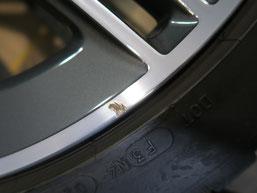 ベンツCLA45S AMGの純正ダイヤモンドカット仕上げホイールのガリ傷・すりキズの修理・修復前のホイール写真6