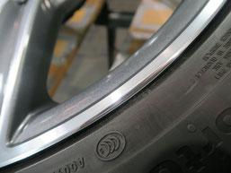 メルセデス・ベンツC200AMGの純正アルミホイールのガリ傷・擦りキズ のリペア(修理修復)後のホイールBの修理箇所アップ写真