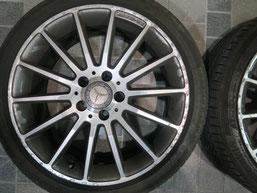 ベンツA180の純正シルバーダイヤモンド(ダイヤモンドカット仕上げ)ホイールのガリ傷・擦りキズ・欠けの、リペア(修理・修復):再ダイヤモンドカット加工前の写真3