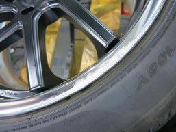シボレー カマロLT RSのアルミホイールのガリ傷・擦りキズのリペア(修理・修復)前の傷アップ写真