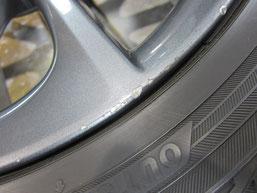 レクサスCT200h・Fスポーツの純正アルミホイールの ガリキズ・擦り傷のリペア(修理・修復・再生)前のホイールAのアップ写真その2