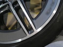 ベンツCLA45S AMGの純正ダイヤモンドカット仕上げホイールのガリ傷・すりキズの修理・修復後のホイール写真3