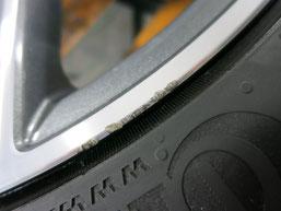 メルセデス・ベンツC200AMGの純正アルミホイールのガリキズ・すり傷 のリペア(修理・修復)前のホイールcの写真3