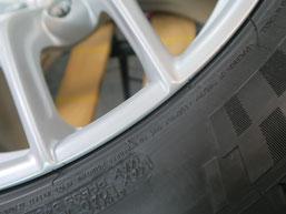 フェラーリ・F12ベルリネッタの純正鍛造アルミホイールのガリ傷・擦りキズ のリペア(修理・修復)後の傷があった箇所のアップ写真