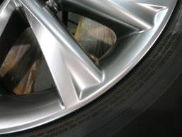 レクサスRX450h純正アルミホイールの、ガリ傷・すりキズのリペア(修理・修復)後の修理箇所アップ写真