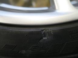 ベントレー・フライングスパーの20インチ純正アルミホイールのガリ傷・擦り傷のリペア(修理・修復)後の傷アップ写真2