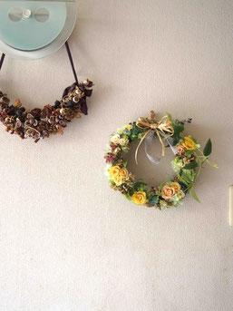 プリザーブドフラワー,リース,壁掛け,電報,祝電,結婚式両親贈呈プレゼント,ナチュラル,黄色,wreath