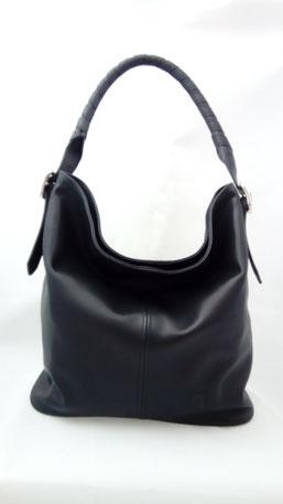 sac seau besace en cuir noir fabriqué en France fait-main en trés petite série