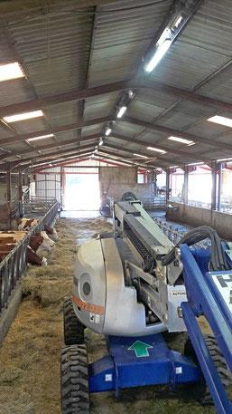 Nacalle automotrice dans un hangar agricole