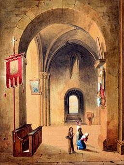 Demange (Maler des 19. Jhs.). Kircheninterieur.