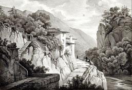 Graphiker des 19. Jhs.: Ansicht aus der Italienische Schweiz