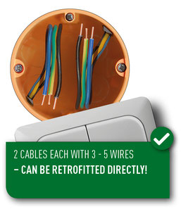 wiring scheme with 2 cables with 3 to 5 wires each