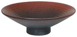 赤吹黒柚子_10.0高台浅鉢