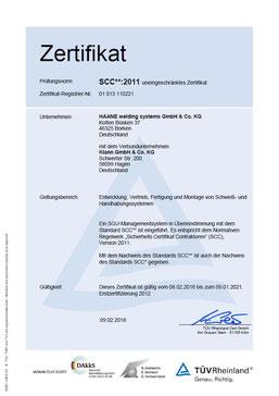 HAANE welding systems SCC Zertifikat