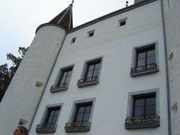 château remanié au XVIème, porteur de cinq tours dissemblables mais toutes coiffées en poivrière.