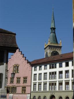 Burggasse et l'hôtel de Ville au pignon en escalier