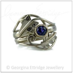 Oak & Ivy Leaf Ring Bridal Set - Blue Sapphire