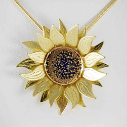 Sunflower Necklace & Earrings 18ct Yellow & Red Gold
