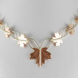 Maple Leaves Canadian Necklace, Red & White Gold