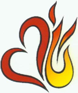 """Das """"flammende Herz"""" ist das Wegzeichen des AugustinusWegs in Messelhausen. Abdruck mit freundlicher Genehmigung des Augustinerklosters."""