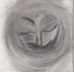 """""""Cara feliz 001"""" 10x10cm Gesso, grafito al agua sobre tela. 2013"""