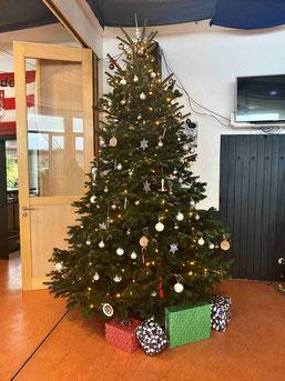 Der Weihnachtsbaum in der - leider völlig menschenleeren - Clubgaststätte