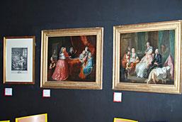 Oeuvres invitées sur le thème. Pierre-Adrien Choquet, Huiles sur toile, La visite à l'accouchée et La visite du médecin vers 1780 / Photo Y. François