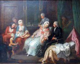 Pierre-Adrien Choquet, Huile sur toile, La visite du médecin vers 1780 / Photo Musée Boucher-de-Perthes