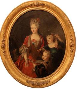 Nicolas de Largillière, Mme Jassaud et ses deux filles dans un cadre rond, après 1706