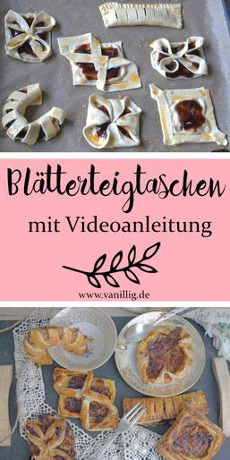 Blätterteig, Falten mit blätterteig, Nachtisch, süßes Gebäck, Falttechniken mit Blätterteig, videoanleitung, teigtaschen, blätterteigtaschen